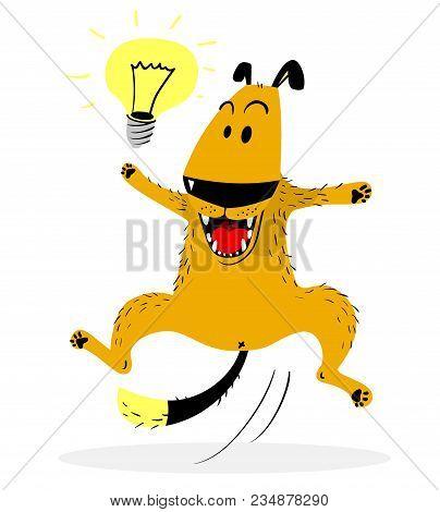 Laughing Jumping Dog. Idea Lamp. Cute Dog Enjoys The Fact That She Had The Idea. Good Mood And Emoti