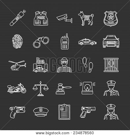 Police Chalk Icons Set. Law Enforcement. Transport, Protection Equipment, Weapon. Isolated Vector Ch