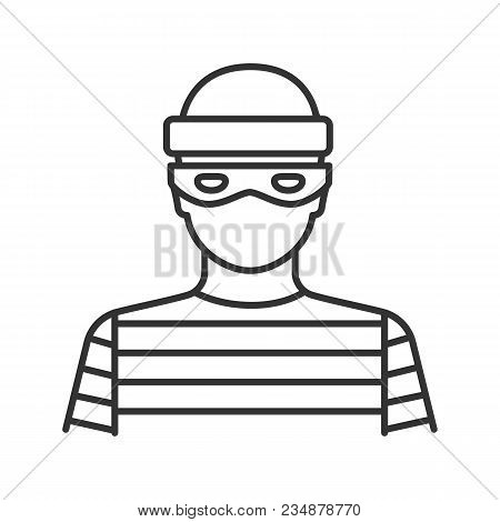 Robber Linear Icon. Thief. Thin Line Illustration. Housebreaker. Contour Symbol. Vector Isolated Out