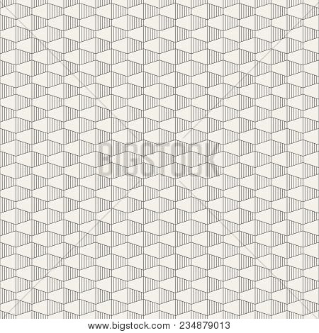 Abstract Seamless Pattern. Hexagonal Grid Design. Geometric Wallpaper. Tiles Motif. Linear Style. Ob