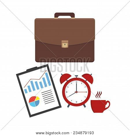 Leather Business Briefcase And Documents Sheet. Office Contracts, Agreements, Reports. Bag With Docs