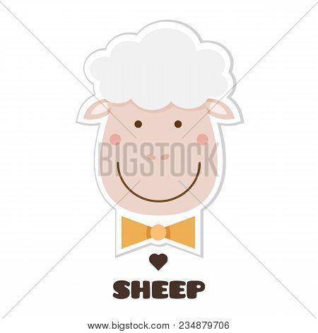 Sheep. Vector Illustration Of Head Of Sheep. Sticker