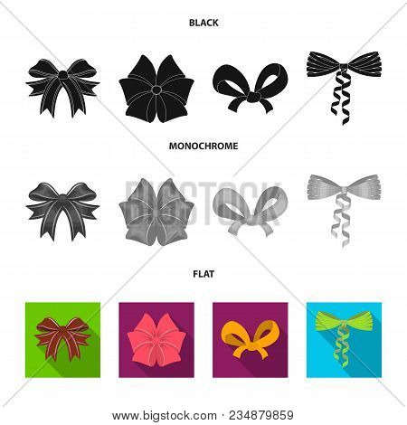 Bow, Ribbon, Decoration, And Other  Icon In Black, Flat, Monochrome Style. Gift, Bows Node Icons In