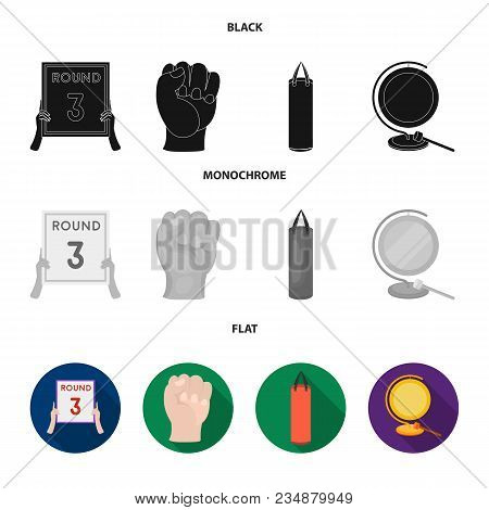 Boxing, Sport, Round, Hand .boxing Set Collection Icons In Black, Flat, Monochrome Style Vector Symb