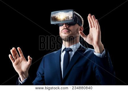 3d technology, virtual reality, cyberspace and augmented reality concept - young businessman with singapore city on virtual headset or 3d glasses screen over black background poster