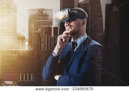 3d technology, virtual reality, cyberspace and augmented reality concept - young businessman with singapore city on virtual headset or 3d glasses screen over double exposure effect background