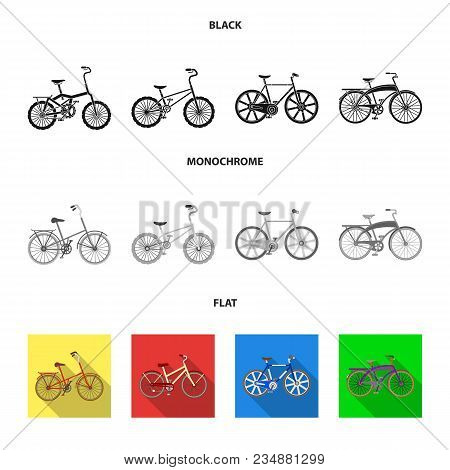 Children Bicycle And Other Kinds.different Bicycles Set Collection Icons In Black, Flat, Monochrome