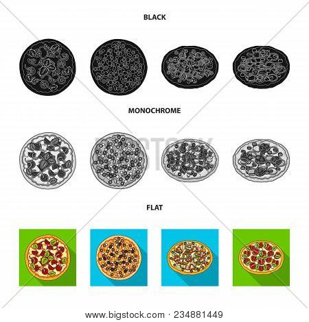 Pizza With Meat, Cheese And Other Filling. Different Pizza Set Collection Icons In Black, Flat, Mono