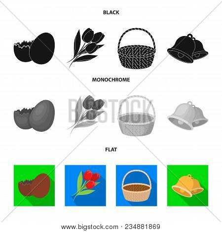 Chocolate Egg, Bells, Basket And Flowers.easter Set Collection Icons In Black, Flat, Monochrome Styl
