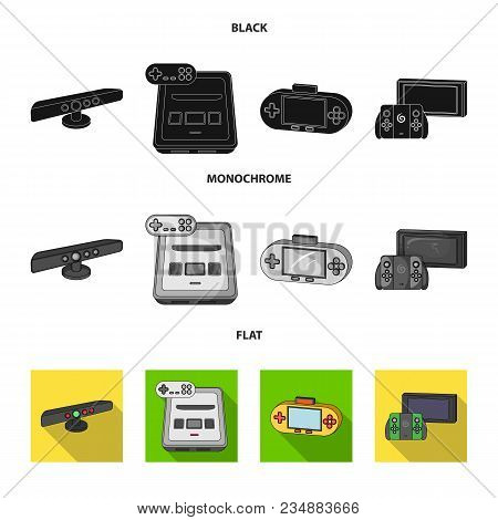 Game And Tv Set-top Box Black, Flat, Monochrome Icons In Set Collection For Design.game Gadgets Vect