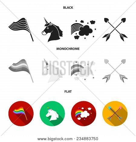 Flag, Unicorn Symbol, Arrows With Heart.gay Set Collection Icons In Black, Flat, Monochrome Style Ve