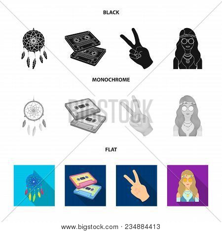 Amulet, Hippie Girl, Freedom Sign, Old Cassette.hippy Set Collection Icons In Black, Flat, Monochrom
