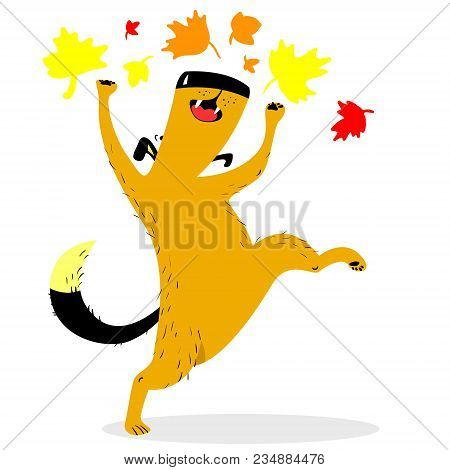 Fall Season Dog Character. Cute Pet Plaing With Colorful Marple Leaves. Vector Cartoon Dog For Seaso