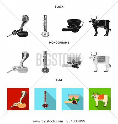 Country India Black, Flat, Monochrome Icons In Set Collection For Design.india And Landmark Vector S