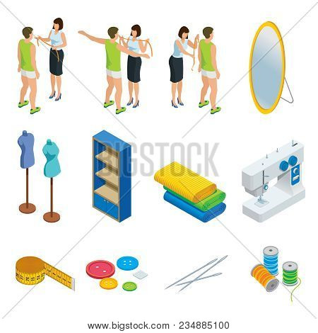 Isometric Tailoring Elements Set With Taking Measurements Process Mirror Mannequin Shelf Cloth Sewin