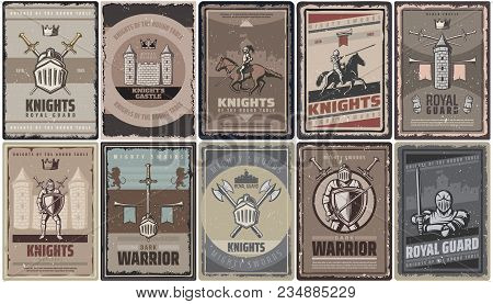 Vintage Colored Medieval Knights Posters With Warriors Swords Helmet Castle Fortress Axes Tower Trum