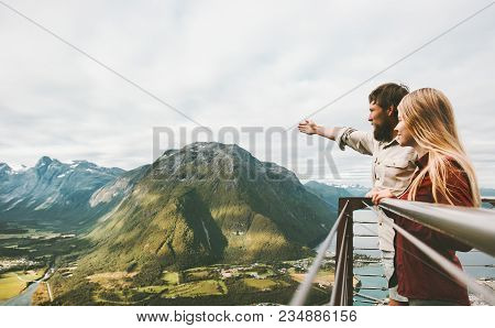 Couple Travelers Enjoying Mountains Landscape Love And Travel Happy Emotions Lifestyle Adventure Vac