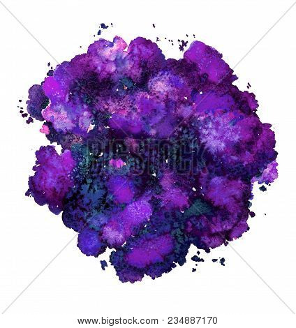Abstract Watercolor Texture, Bionic Form, Dynamic Color Greek Blue And Purple. Big Size. For The Bac