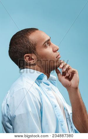 Thoughtful Concept. Satisfy Afro-american Man Is Looking Thoughtfully. Young Emotional Man. Human Em