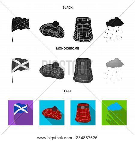 Flag, Kilt, Rainy Weather, Cap.scotland Country Set Collection Icons In Black, Flat, Monochrome Styl