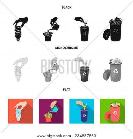 Energy-saving Light Bulb, Watering A Houseplant And Other  Icon In Black, Flat, Monochrome Style. Ga