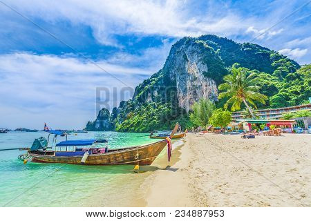 Tonsai Beach Bay With Traditional Longtail Boats Parking In Phi Phi Island, Krabi Province, Andaman