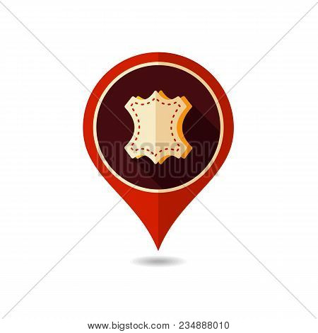 Leather Pin Map Icon. Farm Animal Map Pointer. Map Marker. Graph Symbol For Your Web Site Design, Lo