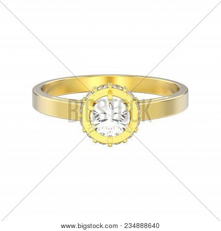 3D illustration isolated yellow gold halo bezel pave diamond ring on a white background poster