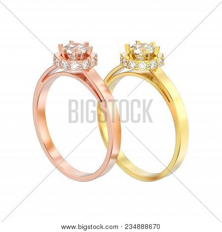 3D illustration two isolated rose and yellow gold halo bezel pave diamond rings on a white background poster