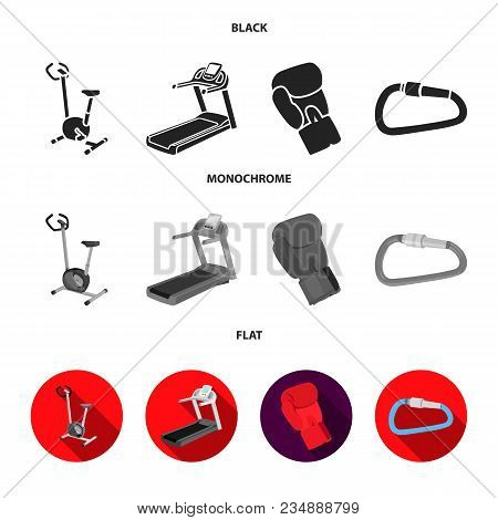 Exercise Bike, Treadmill, Glove Boxer, Lock. Sport Set Collection Icons In Cartoon , Flat Style Vect