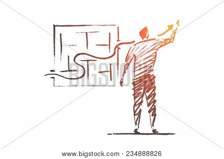 Vector Hand Drawn Business Concept Sketch. Bisinessman Standing Backwards And Drawing Indicator Of S