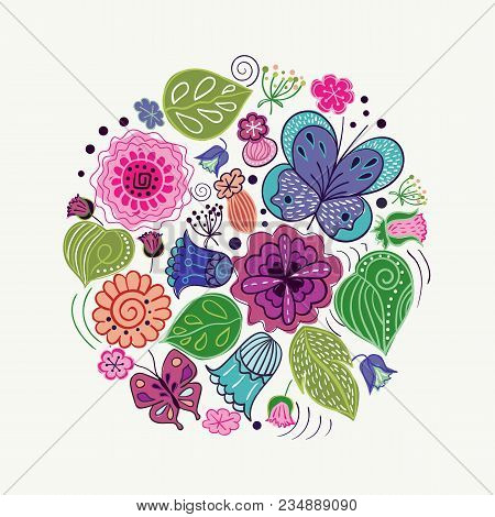 Vector Design Made Of Natural Elements. Set Of Flowers, Leaves And Butterflies Stylized In Folk Styl