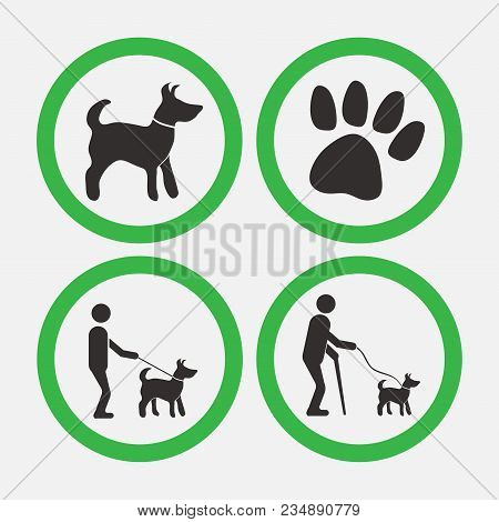 Dog Friendly Signs, Walks With Dogs, Man Helper, Vector Image