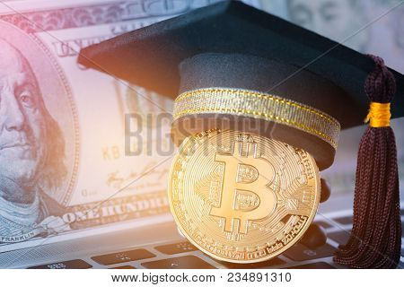 International Graduation Cap On Bitcoin Cryptocurrency And Blur Foreign Money Us Dollars, Jpy Money