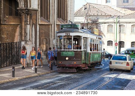 Lisbon, Portugal - September 14 . 2017 . Vintage Tram In The City Center Of Lisbon Lisbon, Portugal