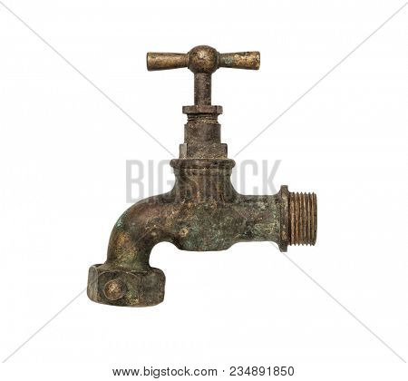 Old faucet isolated on white background, including clipping path