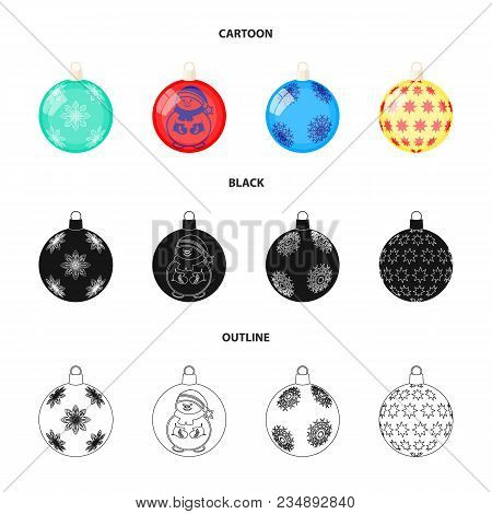 New Year Toys Cartoon, Black, Outline Icons In Set Collection For Design.christmas Balls For A Treev