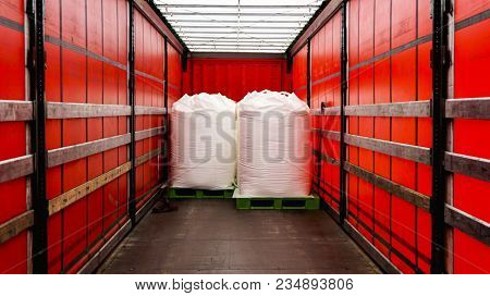 There Is A Loading To The Truck Trailer  . Truck Trailer .