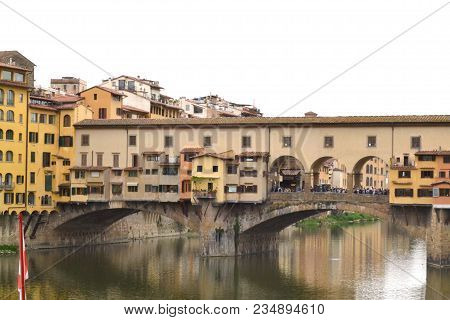 Arno River and Ponte Vecchio in Florence Tuscany - Italy 001 poster