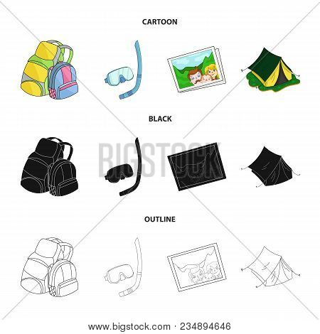 Travel, Vacation, Backpack, Luggage .family Holiday Set Collection Icons In Cartoon, Black, Outline