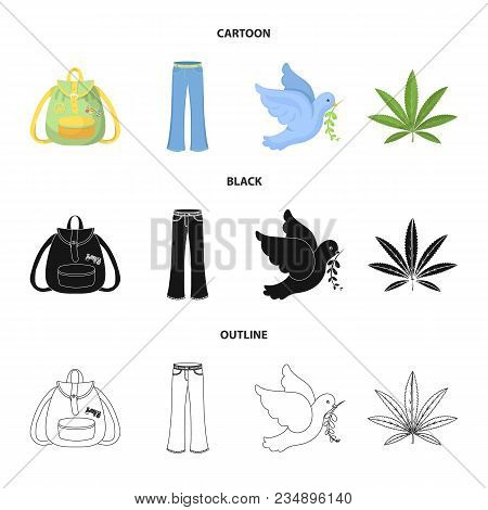 A Cannabis Leaf, A Dove, Jeans, A Backpack.hippy Set Collection Icons In Cartoon, Black, Outline Sty