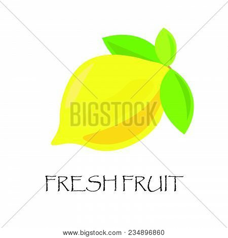Fresh Lemon In Flat Style Design. Great For Logo With Fruits, Card, Symbol, Label, Banner Template.