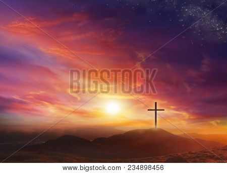 Bright Cross Over Clouds . Church . God`s Cross . The Cross Of Jesus Christ And Beautiful Clouds . L