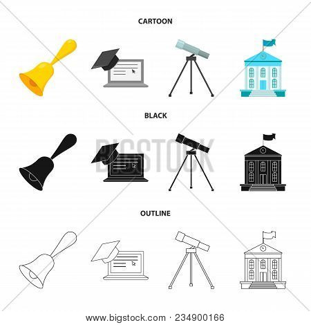 School Bell, Computer, Telescope And School Building. School Set Collection Icons In Cartoon, Black,
