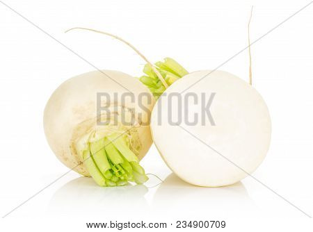 White Radish One Bulb And Section Half Isolated On White Background