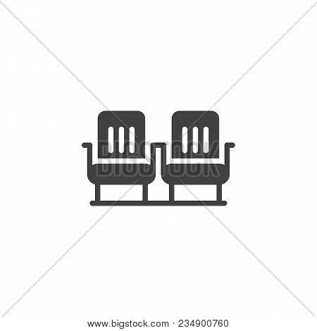 Airplane Seats Vector Icon. Filled Flat Sign For Mobile Concept And Web Design. Two Rows Seats Simpl