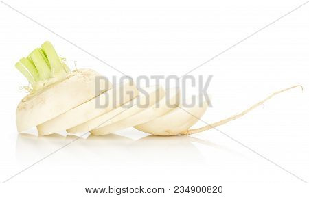 One White Radish Bulb Sliced In Round Pieces Isolated On White Background
