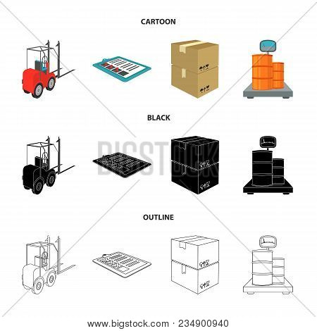 Forklift, Delivery Slips, Packaged Goods, Cargo On Weighing Scales. Logistics And Delivery Set Colle
