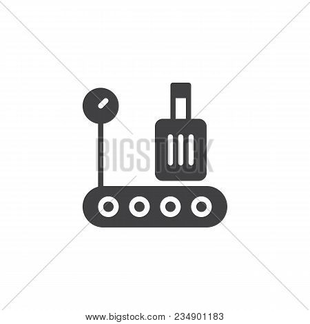 Airport Baggage Conveyor Belt Vector Icon. Filled Flat Sign For Mobile Concept And Web Design. Conve