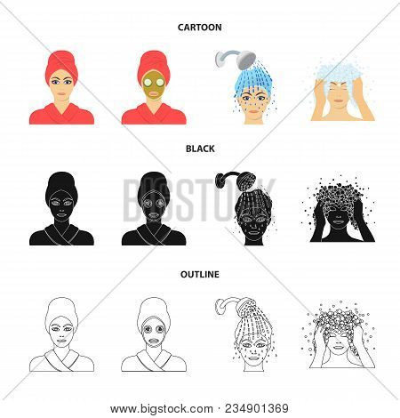 Hands, Hygiene, Cosmetology And Other  Icon In Cartoon, Black, Outline Style.bath, Clothes, Means Ic